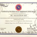 Certificate of Appreciation from Bangladesh Army